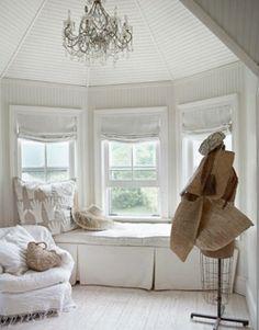 An inviting window seat ... #coachbarn #whitedecor