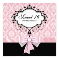 Pink Black Damask Sweet 16 Birthday Party Custom Invitation