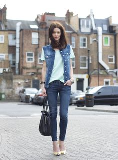 denim vest, yellow heels, #fashionblogger