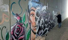 Graffiti in Naou'r / Amman - awareness about drugs / youth empowerment . By:  Laila Ajjawi