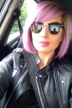 Short bob pastel pink and purple hair done with crazycolors marshmallow and lavender