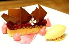 """Peanut Butter Jelly"" Peanut Butter Mousse, Raspberry Jelly, Peanut Butter Ice Cream, Raspberry Foam, Caramel  Crocante by Pastry Chef Antonio Bachour, via Flickr"