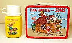 VINTAGE PINK PANTHER & SONS METAL LUNCHBOX & THERMOS. Click on the image for more information.