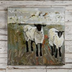 Emily Ozier canvas painting with sheep-Wander, Gather Together Painting