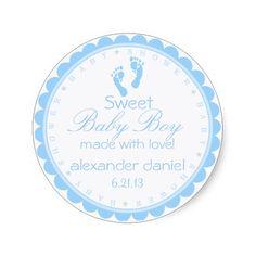 Blue Footprints-Baby Shower Round Stickers