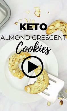 Nobody will believe that these amazing keto almond crescent cookies are low carb, egg free, and gluten free! Gluten Free Sugar Cookies, Gluten Free Cookie Recipes, Gluten Free Snacks, Keto Cookies, Foods With Gluten, Sans Gluten, Almond Cookies, Chocolate Cookies, Chip Cookies