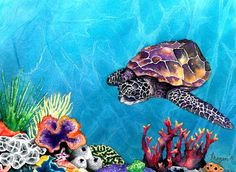 Watercolor Painting - Sea Turtle Ocean Wildlife Art. $25.00, via Etsy.