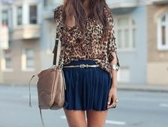 Leopard Print Blouse And Navy Blue Skirt. Vestido Dress, Summer Outfits, Cute Outfits, Skirt Outfits, School Outfits, Trendy Outfits, Summer Dresses, Glamour, It Goes On