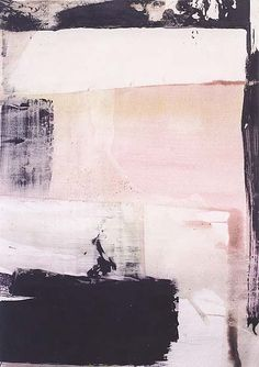 Beautiful painting, love the combination of nude and pastel pink, the different shades of white and the strong black parts creating structure and contrast.