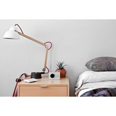 The Lexon Mini Dolmen Radio looking sleek in this stylish room. Check out our selection of Lexon Radios at MŌNO. Desk Lamp, Table Lamp, Radios, Floating Nightstand, Stylish, Happy Friday, Mini, Check, Instagram Posts