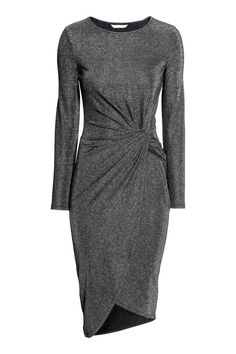 Draped dress: Long-sleeved dress in soft fabric with a knot detail at the waist and asymmetric wrapover skirt.