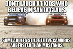 Santa's and 'Stangs Chevy Memes, Truck Memes, Truck Quotes, Funny Car Memes, Really Funny Memes, Funny Stuff, Car Quotes, Hilarious, Nascar Memes