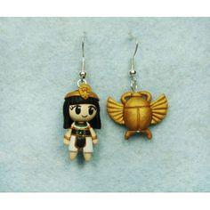 Egyptian & Beetle, pendientes,earrings,fimo,egipcia,escarabajo,