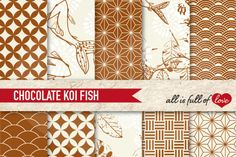 Japanese Digital Background Patterns in Brown :: Graphics with quatrefoil, scalops, koi fish, leafs and more. You get 10 High Quality Sheets :: JPG files in Letter and A4 size with 300 dpi jpg, for perfect printing or digital use. These have so many uses, they are great for scrapbooking, crafts, party decor, DIY projects, blogs & more. All patterns are original and copyrighted by All is Full of Love