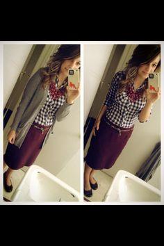 Gray boyfriend cardigan, navy gingham, burgundy statement necklace, burgundy pencil skirt, leopard skinny belt, modest winter fashion