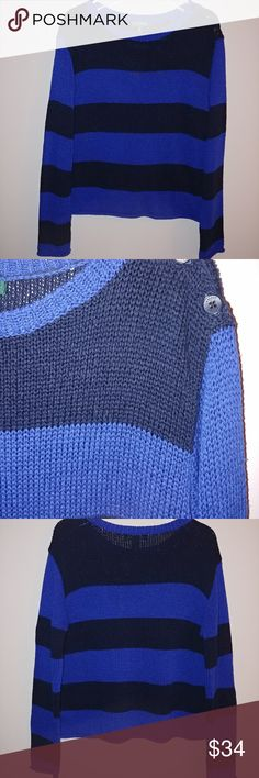 """Lauren Ralph Lauren Long Sleeve Striped Sweater 100% acrylic.  Good used condition.  No flaws.  Crew neck.  Three button closure on left side of neck.  Long sleeves.   Hand wash cold.   Pit-to-Pit Across the Front:   22.5"""" Top to Bottom Down the Middle of the Back:   22""""                         Sleeve Length (from the middle of the neck in the back to the end of the sleeve):   32"""" Lauren Ralph Lauren Sweaters Crew & Scoop Necks"""