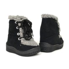 Baby Infant Winter Faux Fur Suede Lace Up Sneakers Unisex Boots Black , 4-12 B By KSC. $19.95