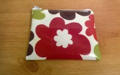 Oilcloth coin purse or card wallet, bright floral pattern, secure zip, fab gift idea