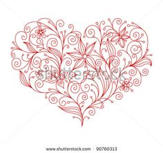 Abstract floral heart background for textile or invitation card design. Jpeg version also available in gallery