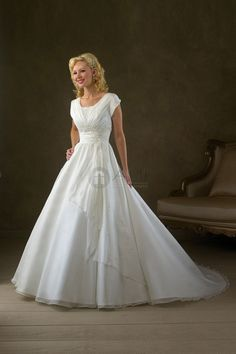 Organza Modest Formal Scoop Short Sleeve Long Wedding Dress  This dress would be stunning in a deep purple or magenta & with 3/4 length sleeves!!!!