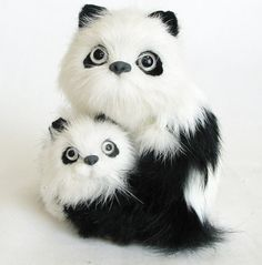 "Amazon.com: Custom & Unique {4.5"" x 4"" Inch} 1 Single, Home & Garden ""Standing"" Figurine Decoration Made of Grade A Genuine Rabbit Hair w/ Adorable Soft Eyed Panda Bear & Baby {Black & White}: Home & Kitchen"