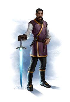 Human Male Fighter w/ Magic Sword - Pathfinder PFRPG DND D&D d20 fantasy