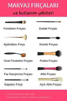 Hangi Makyaj Fırçası Niçin Kullanılır What are the names of the make-up brush, how to use and what is used for the best answers to questions such as detailed and visual as well as moving. # Makyajfırça of Hayat kurtaran makyaj ipuçları Sleek Make Up, Make Up Brush, Make Up Tutorial Contouring, Makeup Tutorial Foundation, Eyeliner, Mascara, Brows, Makeup Brush Cleaner, Makeup Tips