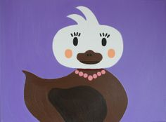 Kinderkamerkunst. Handgemaakt kinderschilderij. Eend 30x40. Achtergrond: paars. Kinderschilderijen www.byphilomena.nl Gemaakt door: Philomena. Doek: Canvas.