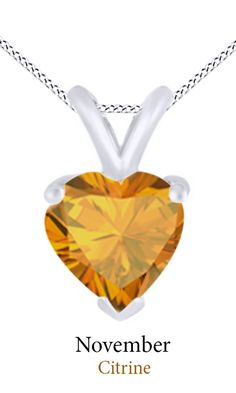 Jewel Zone Us Women's Classic Birthstone Heart Shape Pendant Necklace in 10k Solid White Gold (1 1/2 cttw). Crafted in 10K Solid White Gold. The fashion Pendant enhance with the Citrine Birthstone of November month bring you GOOD LUCK. Find a special gift for a loved one or a beautiful piece that complements your personal style with jewelry from the Jewel Zone US Collection. Note: Due to the difference between different monitors, the picture may not reflect the actual color of the item…