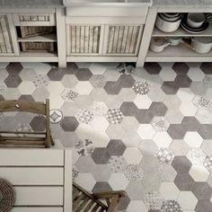 Carrelage hexagonal imitation ciment à motif mate HEXATILE CEMENT GARDEN GREY de chez EQUIPE CERAMICA