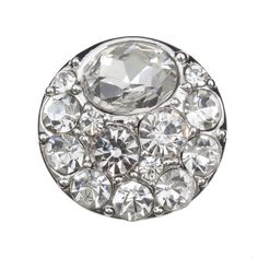 Snap! Metal with Stones Interchangeable Fastener Round 20MM Crystal Nickel 1pc Off Price Policy - 4005-0105-004 - Club Bead Plus