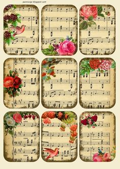 Penniwigs: Free Graphics, Printables, Paper Fun, Lore and More: Music Tags / Collage Sheet Free Printable Printable Labels, Printable Paper, Free Printables, Decoupage Printables, Free Printable Sheet Music, Printable Flower, Printable Scrapbook Paper, Sheet Music Crafts, Sheet Music Art