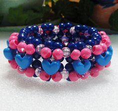 Kandi 3D Beaded Stretchy Cuff Bracelet In Blue by TheBeadedDiamond, $5.00