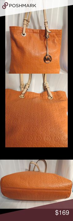 """Michael Kors Jet Set Tangerine Leather Bag Excellent Gently Used Condition  All of my items are absolutely positively guaranteed 100% genuine, I do not sell FAKE anything!     Height: 16""""  Width: 14""""  Strap Drop 10""""  No Trades (S079) Michael Kors Bags"""