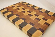 End Grain, Butcher Block, Chopping Block, Wood Cutting Board made from Bloodwood, Purple Heart, Walnut, Maple and Cherry