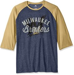 MLB Milwaukee Brewers Men's Victory Is Near Tee, Athletic Navy Heather-Harvest Gold, Small  http://allstarsportsfan.com/product/mlb-mens-victory-is-near-tee/?attribute_pa_teamname=milwaukee-brewers&attribute_pa_size=small  Official MLB Short Sleeve Raglan Tee Victory Is Near Tee Licensed Approved Screen print