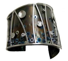 Chihiro Makio: sterling cuff with glass beads, sequins, white sapphires and rhodium
