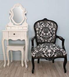 Black U0026 White Damask Print Vintage Style Louis Chair With A Black Frame