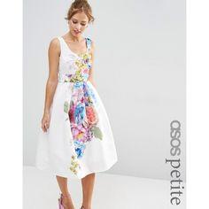 ASOS PETITE SALON Beautiful Floral Placed Midi Prom Dress ($125) ❤ liked on Polyvore featuring dresses, multi, petite, floral midi dress, petite white dresses, white midi dress, scoop neck prom dress and petite midi dress