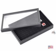 100 Holes Ring Earring Velvet Storage Display Box Jewelry Organizer Case Black 30x19x4cm Ships from USA 20004