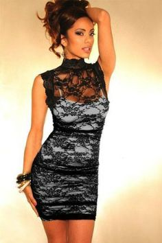 Bodycon Dress European and American Style Black Lace Dress women sexy mini  dress black club wear vestidos 2617 f7912cd30896