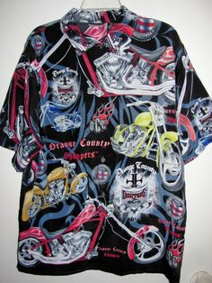 Mens Motorcycle Shirt Orange County Choppers OCC Large Black Red Bikes L