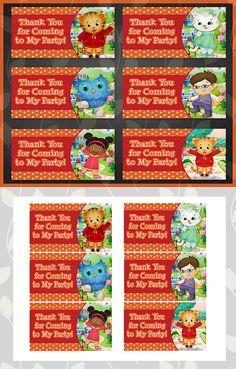 Printable Daniel Tiger Birthday Goody Bag Tags by ApothecaryTables