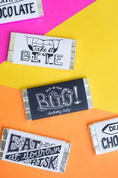 ハロウィンのチョコレート・バー無料のPrintables