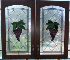Custom Grape Stained Glass Cabinet Doors made by artist Kim P. Kostuch at Studio One Art Glass Stained Glass Cabinets, Stained Glass Lamps, Stained Glass Windows, Custom Cabinet Doors, Glass Cabinet Doors, Flat Marbles, Custom Stained Glass, Fireplace Screens, First Art