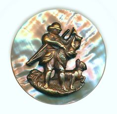Image Copyright by RC Larner ~ Button--Large Late 19th C. Brass Escutcheon on Abalone Pearl Bagging a Hare