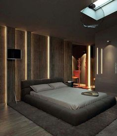 20+ Large Masculine Bedroom Ideas For Men | Modern Bedroom Ideas For Men | Ideas For Mens Bedroom With Unique Wall Design #bedroomideasformen #bedroom #black #grey #ideas #interior #design