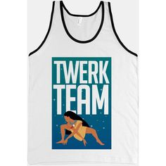 Twerk Team Pocahontas (Tank) ($27) ❤ liked on Polyvore featuring tops, shirts, tank tops, t-shirts, shirts & tops, slimming tank, slim fit shirt, slimming tank top and slim shirt