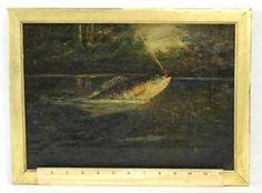 Vintage Fly Fishing Art | Details about Antique 19thC Fly Fishing Folk Art Lake Bass Fish O/C ...