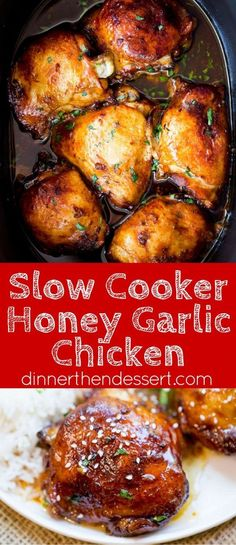 Slow Cooker Honey Garlic Chicken is the perfect weeknight meal with just five ingredients. Full of flavor with basic pantry ingredients and almost no prep!